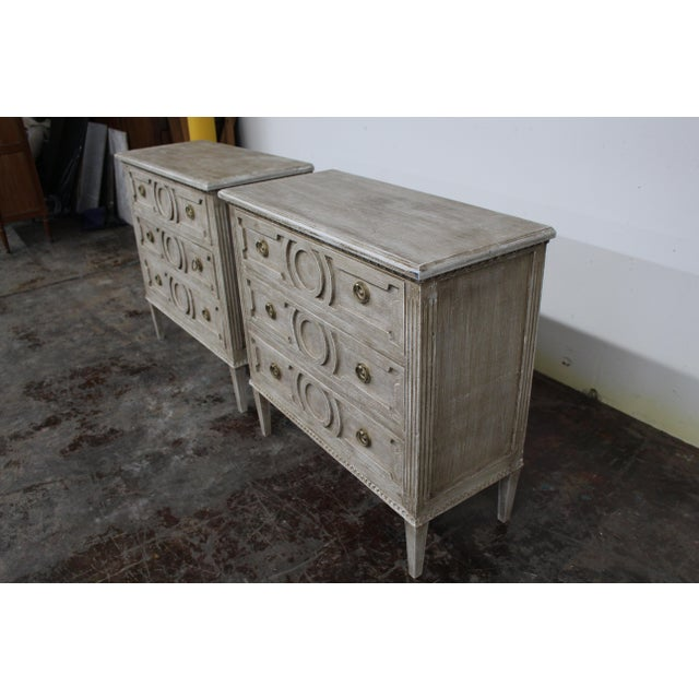 Mid-Century Modern 20th Century Vintage Swedish Gustavian Style Nightstands - a Pair For Sale - Image 3 of 12