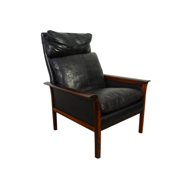 Black Hans Olsen Knut Saeter Vatne Mobler Rosewood Leather High Back Chair For Sale - Image 8 of 8