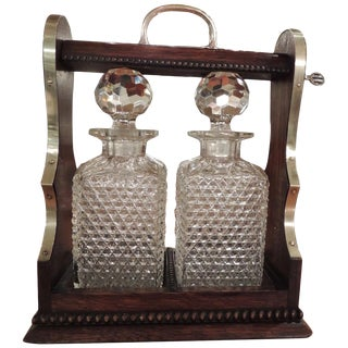 English Crystal Tantalus in Locked Wooden Case by Rodolfo Eisler For Sale