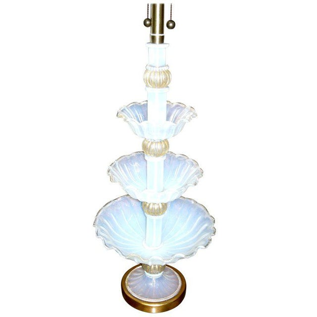 Traditional Marbro Murano Glass Three-Tier Center Piece Fitted as a Lamp For Sale - Image 3 of 3