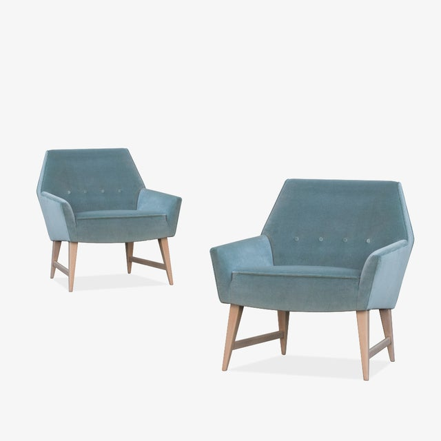 Mid-Century Club Chairs in Sea Velvet, Pair For Sale - Image 10 of 10