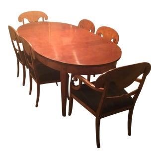 Gorgeous Flame Birch Oval Dining Set For Sale