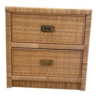 1970s Boho Chic Wicker Wrapped Dixie Nightstand For Sale