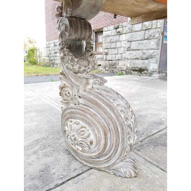 Antique French Carved Wood & Mahagony Console Table For Sale In New York - Image 6 of 10