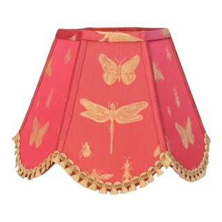 Coral Red Embroidered Gold Insects Scalloped Hexagon Frame Clip On Lamp Shade For Sale