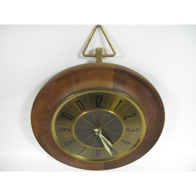 Metal 1960s Mid Century Modern Elgin Wall Clock For Sale - Image 7 of 11