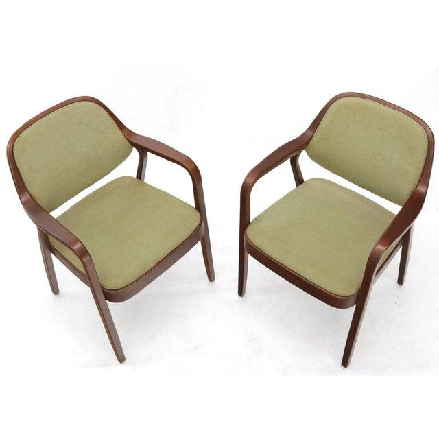 Brown Pair of Bent Walnut Wood Dining Chairs by Knoll For Sale - Image 8 of 13
