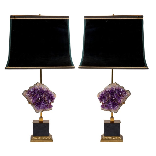 Maison Jansen Amethyst Lamps With Shades - a Pair For Sale