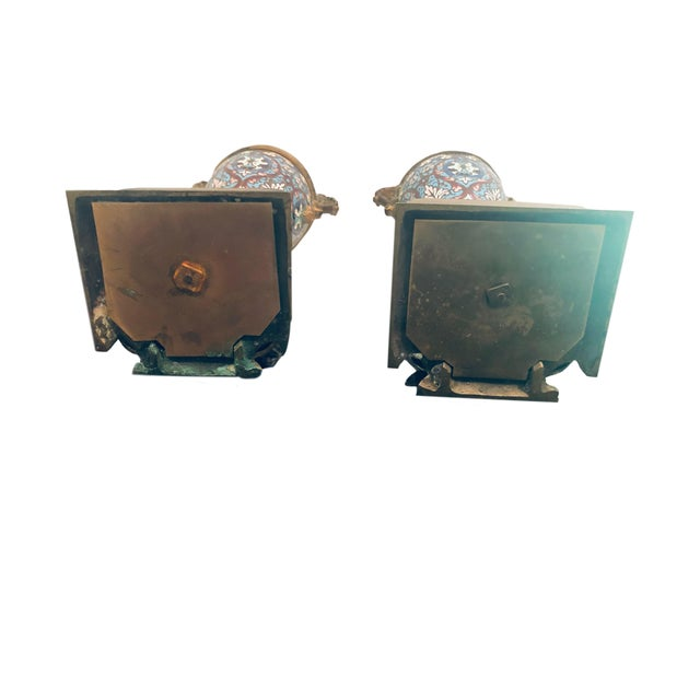 Metal 19th Century French Champleve Vases- a Pair For Sale - Image 7 of 10