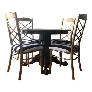 Round Dark Wood Claw Foot Table & Chair Set