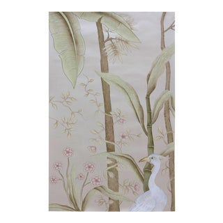 Tropical Forest Hand Painted Chinoiserie Panel For Sale