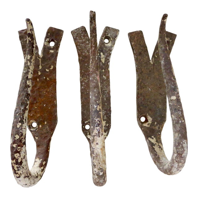 Antique French Iron Butcher Wall Hooks - Set of 3 For Sale