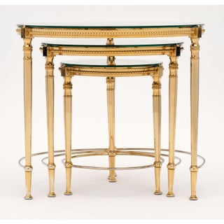 Round Glass and Brass Antique Nesting Tables - Set of Three Preview
