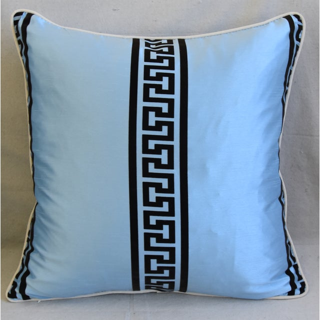 """Abstract Blue Dupioni Satin Silk Greek Key Feather/Down Pillows 23"""" Square - Pair For Sale - Image 3 of 13"""