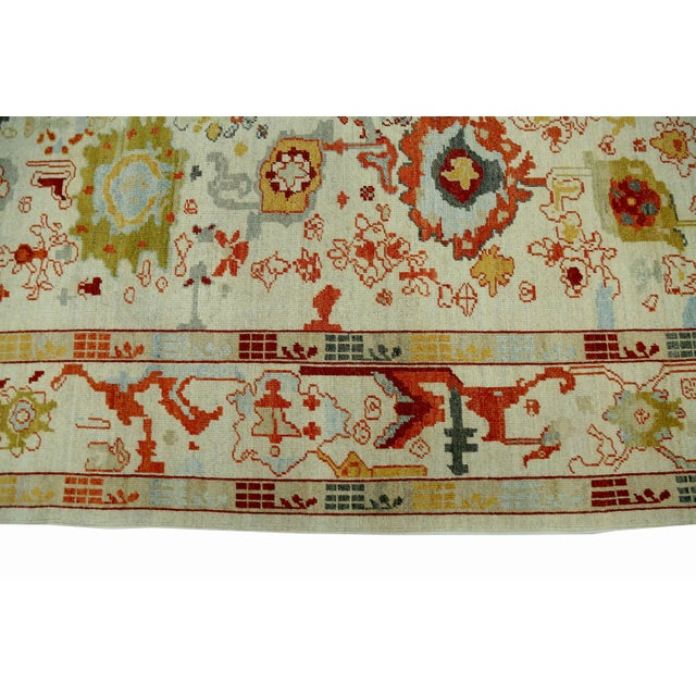 2010s Turkish Oushak Rug With Red & Yellow Floral Details on Ivory Field For Sale - Image 5 of 10