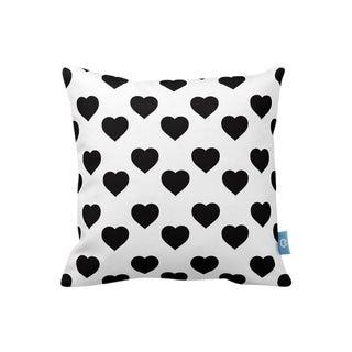 Black & White Heart Design Throw Pillow Cover