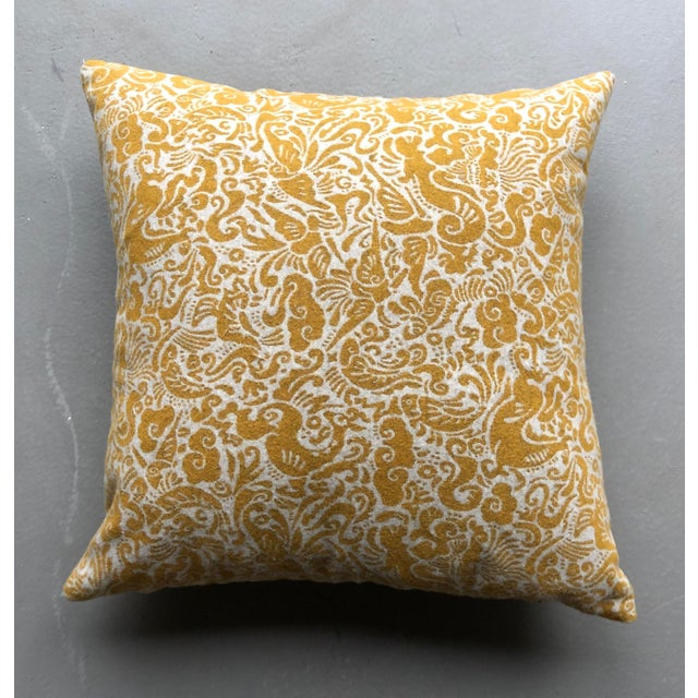 """Pair of Zak & Fox Amitan 20"""" pillows. Mustard yellow. Zipper and inserts included. 50/50 wool and polyester."""