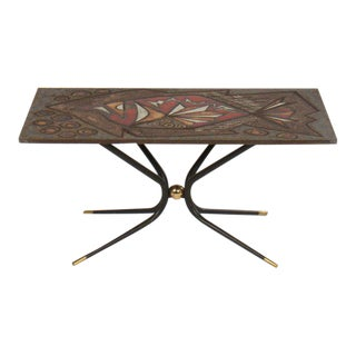 Mid Century Tile Cocktail Table For Sale