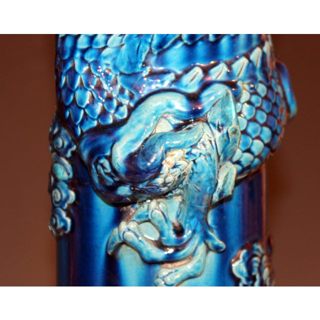 Antique Kyoto Dragon Japanese Awaji Pottery Floor Vase For Sale In New York - Image 6 of 12