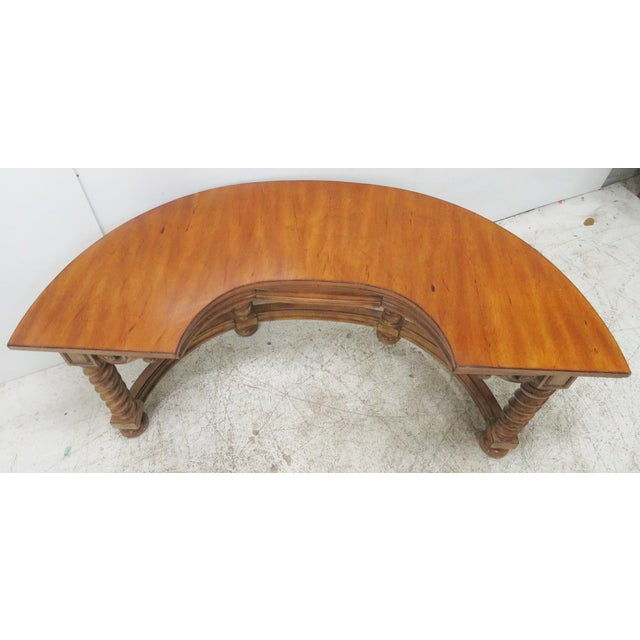 Italian Style Faux Painted Demilune Desk For Sale - Image 5 of 10