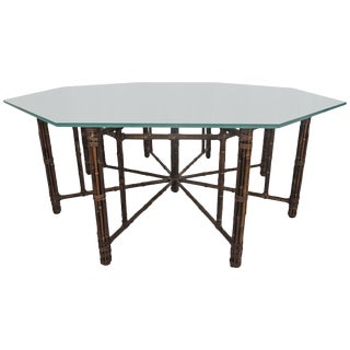 1990s Boho Chic McGuire Octagonal Bamboo and Rattan Dining Table For Sale