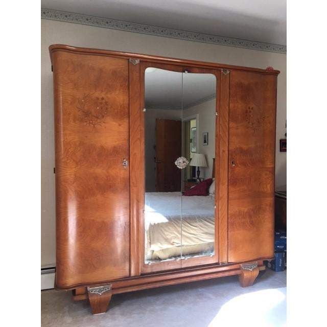 This is an exquisite Art Deco bedroom set from France. It is made of a very rare wood called Indian Rosewood or...