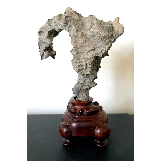 Wood Small Chinese Scholar Stone Yingde on Display Stand For Sale - Image 7 of 13