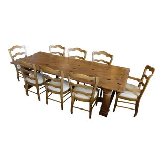 Ralph Lauren Danby Farmhouse Pine Dining Table With 8 French Country Pine Ladder Back Dining Chairs For Sale