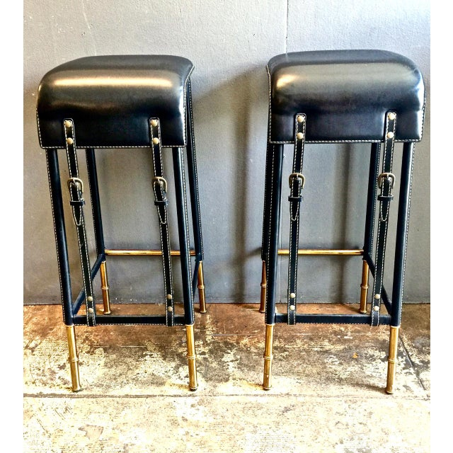 Pair of Jacques Adnet Bar Stools, C. 1950s For Sale - Image 11 of 12