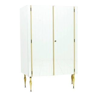 Fully Front Mirrored Asymmetric Wardrobe With Brass Legs, Germany 1960s For Sale