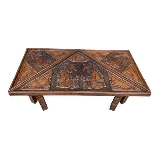 Vintage Mid Century Modern Carved Mayan 3-Piece Coffee Table For Sale