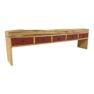 Rustic 5-Drawer Custom Palomino Cowhide Cushion Bench