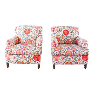 Custom Kravet Sebago Club Chairs - a Pair For Sale