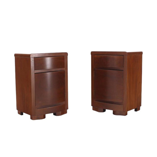 Pair of Art Deco Walnut End Tables Nightstands For Sale