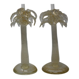 Murano Glass Candle Holders - a Pair For Sale