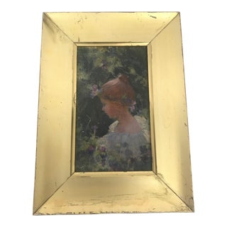 Early 20th Century Antique Charles Courtney Curran Oil on Artist's Board Art Nouveau Portrait Painting For Sale