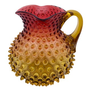 Mid 20th Century Large Hobnail Amberina Pitcher For Sale