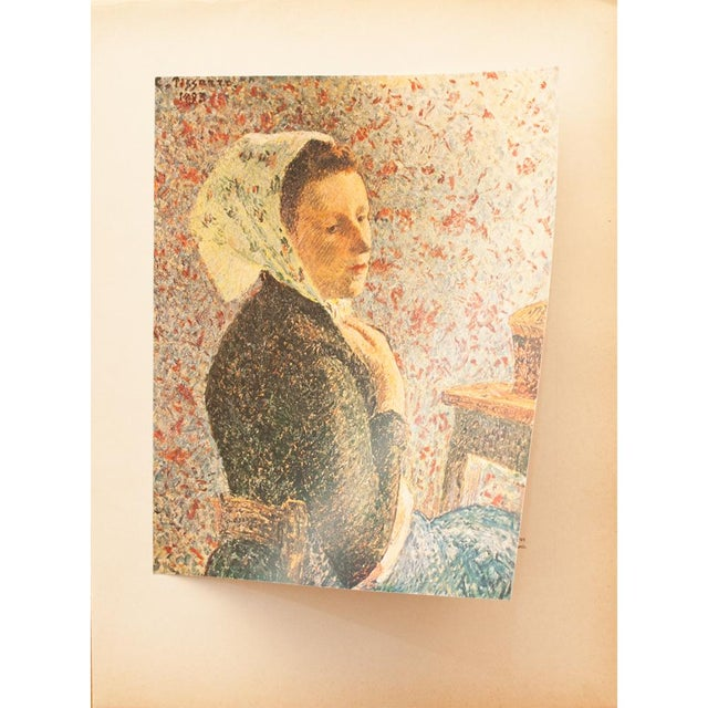 "Camille Pissarro 1930s Camille Pissarro, Rare Original ""Woman With Green Scarf"" Lithograph For Sale - Image 4 of 8"