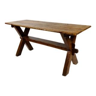 19th Century Antique Farm Trestle Table For Sale