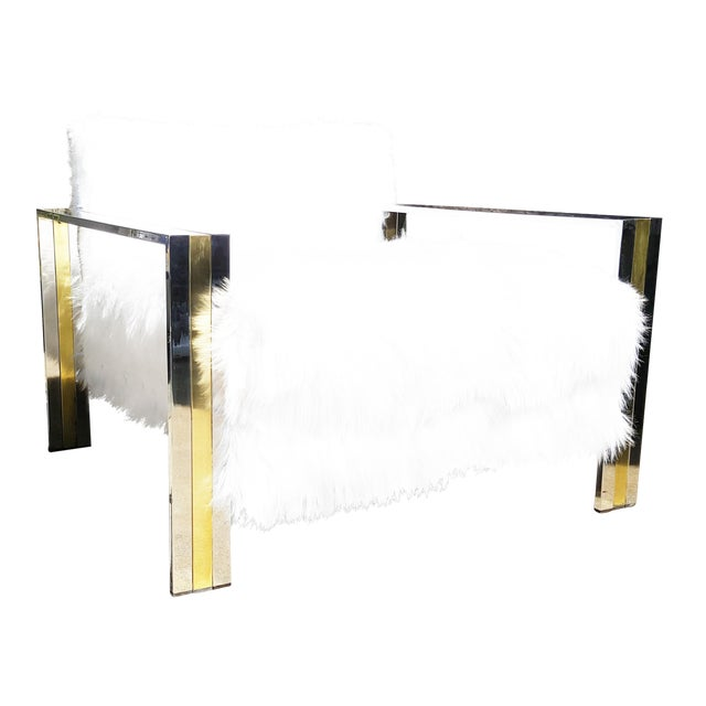 Brass & Chrome Faux Sheepskin Armchair - Image 1 of 8