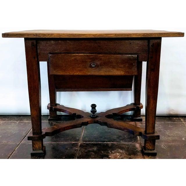 Antique ( 1680-1749 ) Flemish Renaissance Oak Possum Belly Drawer Kitchen Work Table For Sale - Image 12 of 12