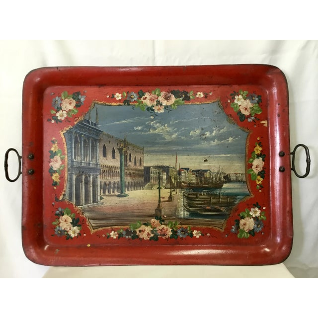19th Century Tole Tray Featuring a Hand Painted Italian Scene For Sale - Image 13 of 13