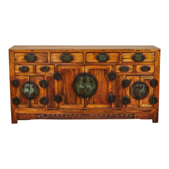 Rare 19th Century Chinese Elm Sideboard For Sale