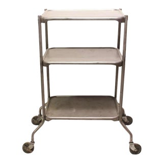Vintage Industrial 3-Tier Bar Cart For Sale