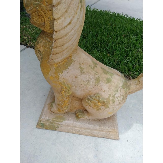 Concrete Palm Beach Regency Monumental Lion Foo Dog Glass Top Side Table For Sale - Image 7 of 8