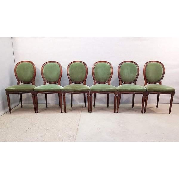 French Vintage Louis XVI Style Green Velvet Medallion Back Dining Chairs - Set of 6 For Sale - Image 9 of 13