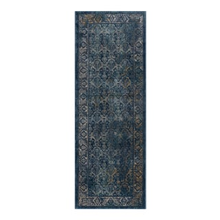 Journey Nicola Traditional Floral Navy Runner Rug - 2' x 8'