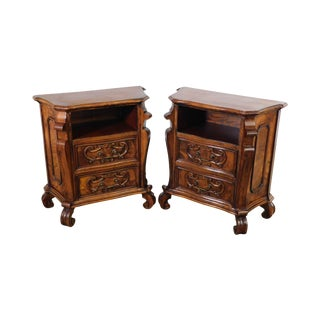 Italian Renaissance Vintage Pair Carved Walnut 2 Drawer Commodes Nightstands For Sale