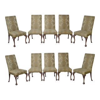 Chippendale Style Vintage Set of 10 Carved Mahogany Ball & Claw Upholstered Dining Chairs