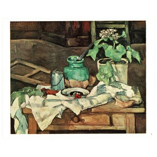 1940s Cezanne Pot of Flowers on a Table Still Life From Geneva For Sale